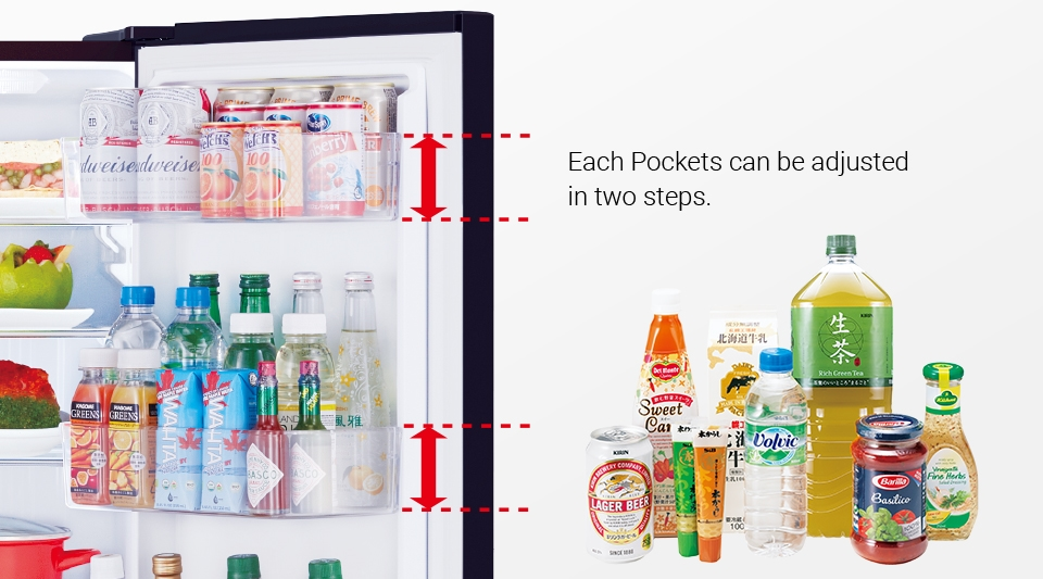 The height of the door pocket can also be conveniently changed, to even store tall bottles.