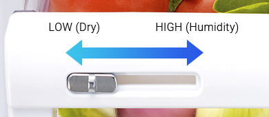 Humidity control keeps vegetables and fruits in optimal condition by providing just the right amount of humidity.